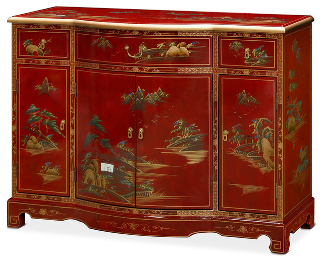 Beau Console Cabinet With Hand Painted Chinoiserie Landscape, Red Lacquer