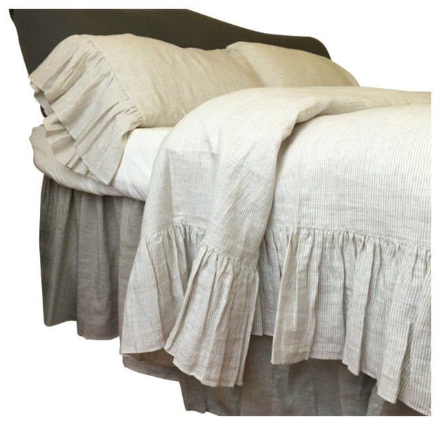 Natural Linen Ticking Striped Duvet Cover Farmhouse Duvet Covers And Duv