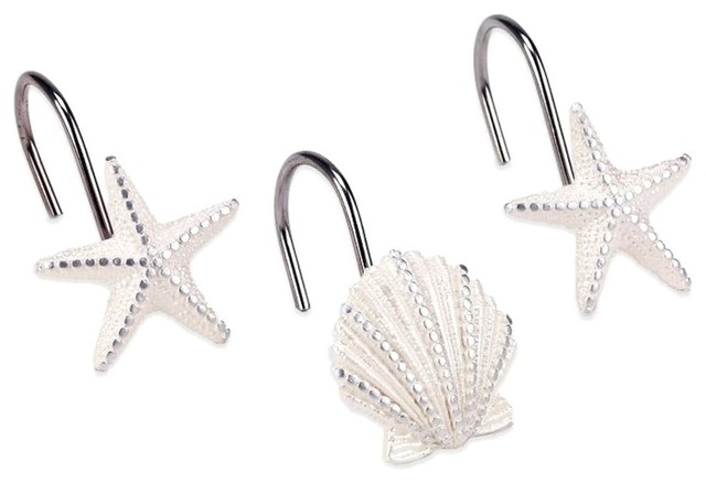 Starfish Seashells Sequined Shower Curtain Hooks 12 Pc Steel