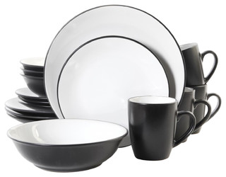 Vivendi 2 tone 16 piece dinnerware set red and black - Black and red dinnerware sets ...