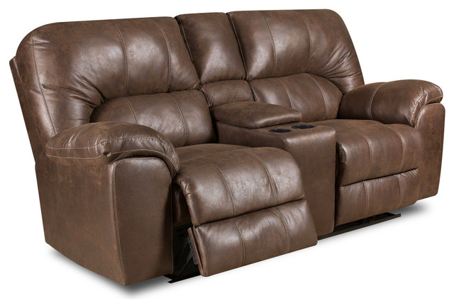 Peachy Beaumont Faux Leather Power Reclining Loveseat Brown Power Machost Co Dining Chair Design Ideas Machostcouk