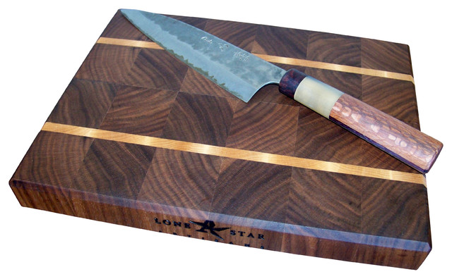end grain walnut with maple stripes cutting board  traditional,