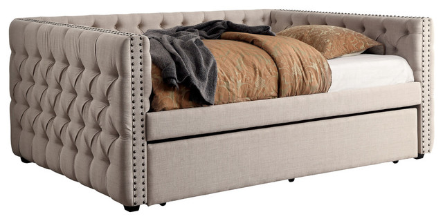 Carolena Contemporary Diamond Tufted Twin Daybed, Ivory.