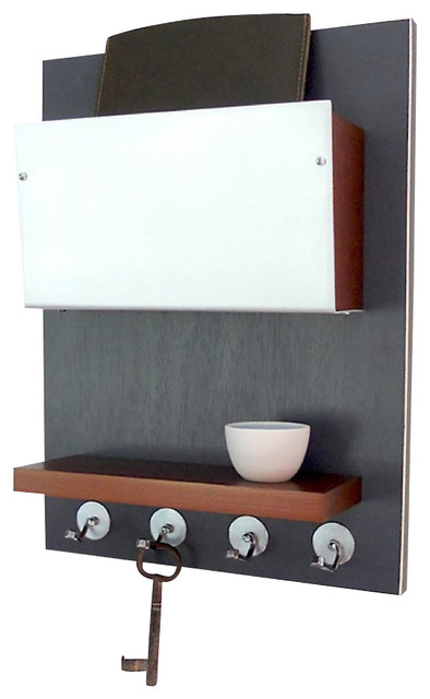 Charming Wall Mounted Wooden Key Rack, Dwell Gray And Copper