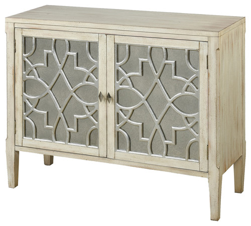 Santa Anita 2-Door Wood Console With Mirror Front and Fretwork