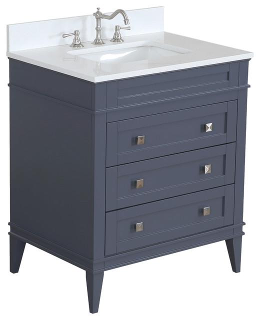 "Eleanor Bathroom Vanity, Charcoal Gray, 30"", Quartz Top"