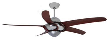 """Uragano Indoor Chrome Ceiling Fan With 5 Mahogany Blades, Chrome, 54""""."""