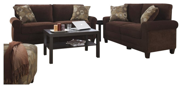 Living Room Sets Trinidad serta trinidad 2 piece sofa set in chocolate fabric - transitional
