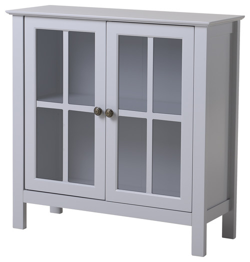 Os Home And Office Dark Gray Glass Door Accent And Display Cabinet