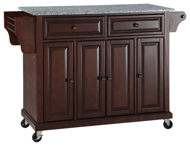 Solid Granite Top Kitchen Cart Island Transitional