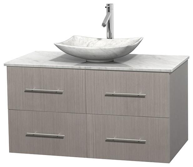"""Centra 42"""" Gray Oak Bathroom Vanity Carrera Marble Top, Arista Carrera Marble."""
