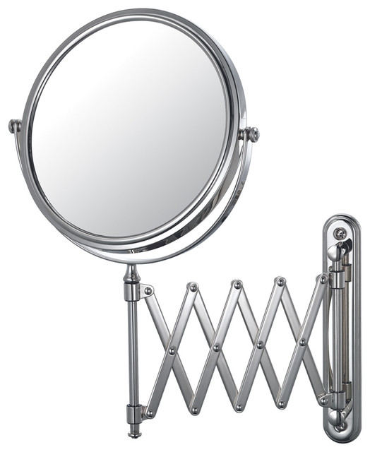 Extension Arm Wall Mirror With 5x and 1x Magnification, Chrome