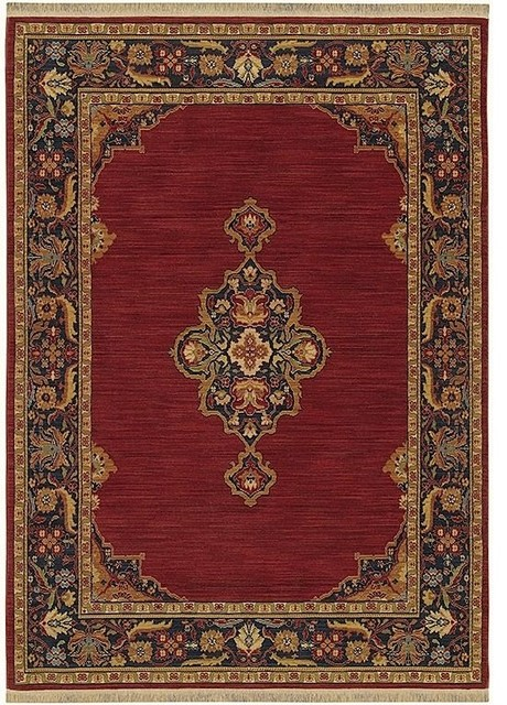 English Manor Area Rug Rectangle Brick Red Dark Blue