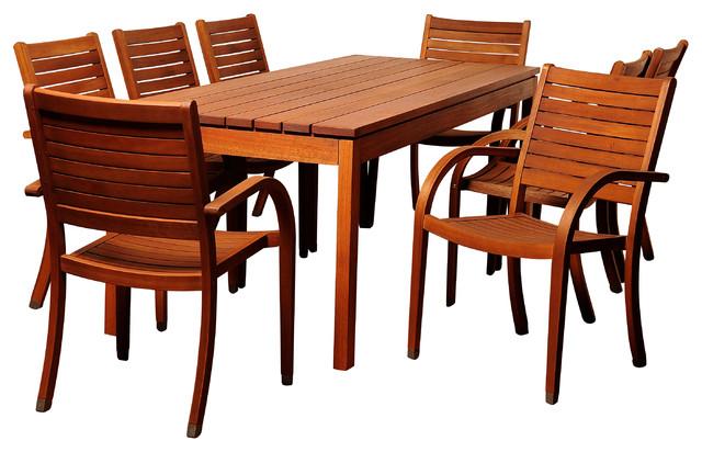 Freeman 9 Piece Eucalyptus Rectangular Patio Dining Set