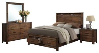 Acme Merrilee 4 Piece Storage Bedroom Set Rustic Bedroom Furniture Sets By Acme Furniture