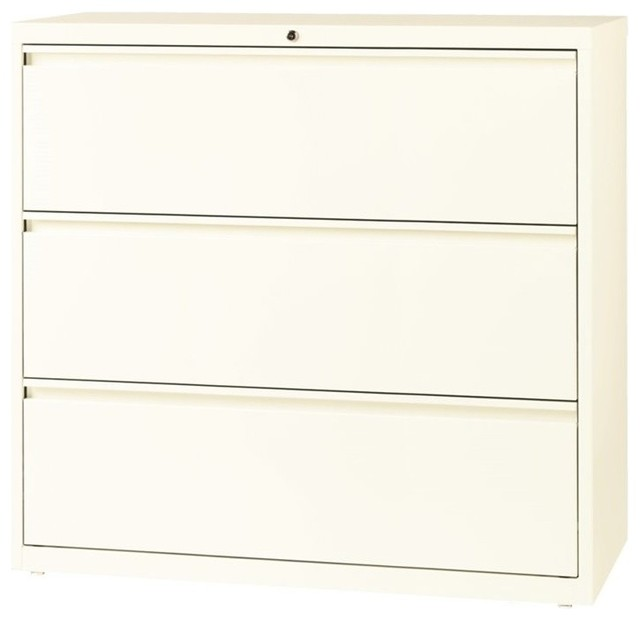 Hirsh 3-Drawer Lateral File Cabinet in Cloud - Contemporary - Filing Cabinets - by Homesquare