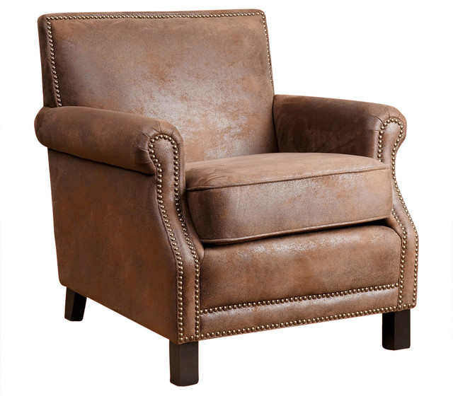 Millie Leather Club Chair Transitional Armchairs And