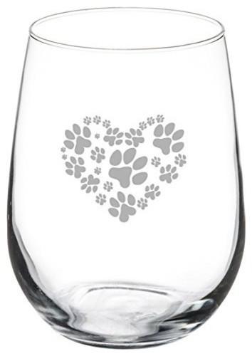 Paw print love wine glass
