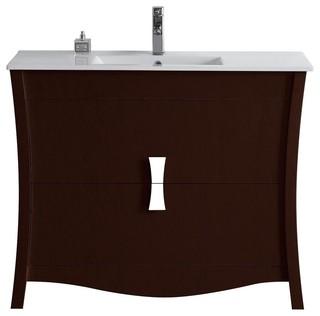 """Modern Birch Wood-Veneer Vanity Base Only, Coffee, 47.17""""X18.03"""""""