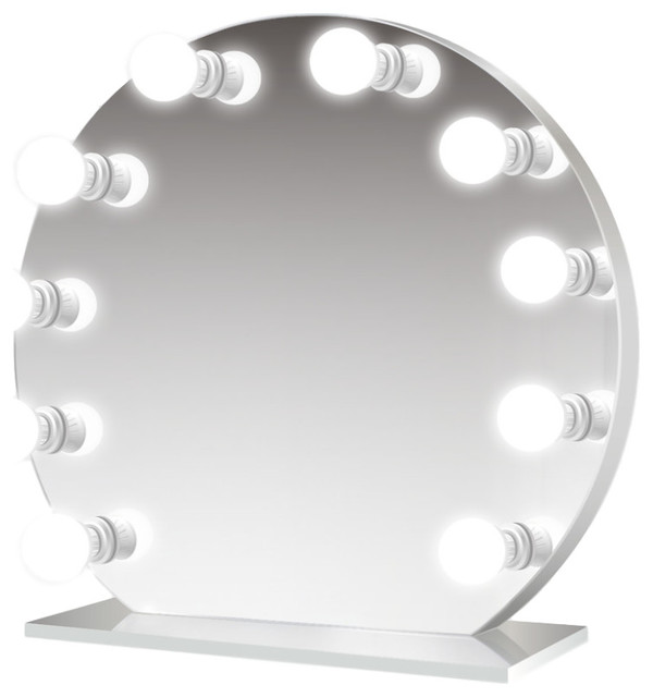 Round Led Lighted Hollywood Makeup Vanity Mirror Table Top Or Wall