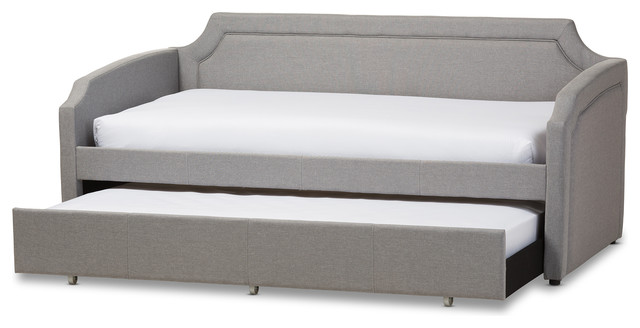 Parkson Linen Curved Notched Corners Sofa Twin Daybed With Trundle Bed Gray