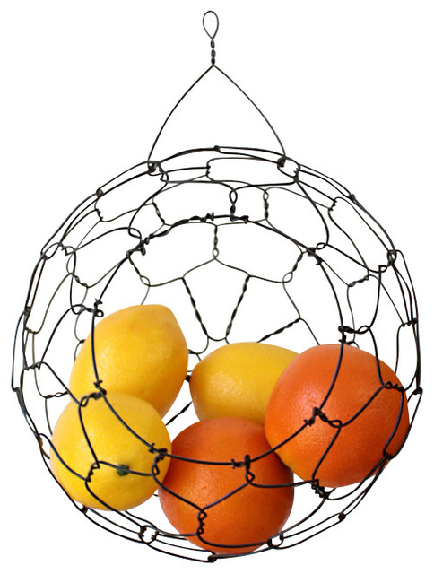 Wire Hanging Fruit Or Vegetable Sphere Basket Contemporary Fruit Bowls And  Baskets