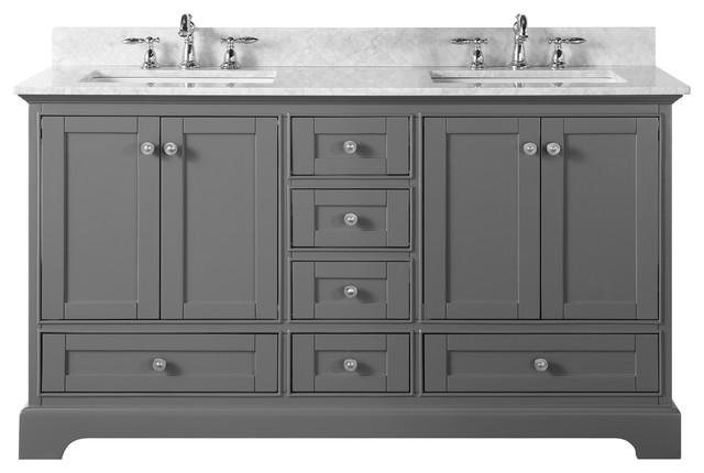 "Audrey Vanity Set, Sapphire Gray, 60"", Brushed Nickle Hardware, Carrara White Ma"