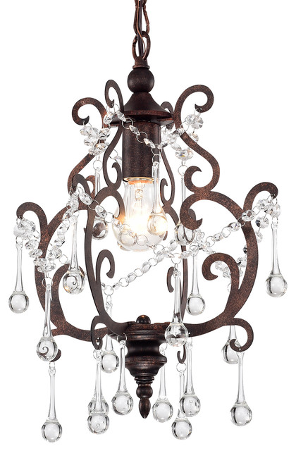 1 Light Antique Copper Mini Pendant Chandelier With Raindrop Crystals Glam