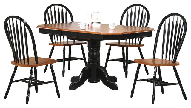 Sunset Trading 5 Piece Pedestal Extension Dining Set With