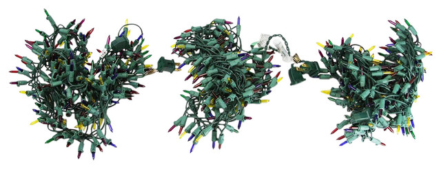 Multi Mini Christmas Garland Cluster Light Strands, Green Wire, Set Of 3.
