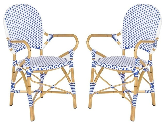 Safavieh Hooper Indoor/outdoor Stacking Armchair, Set Of 2, Blue And White.