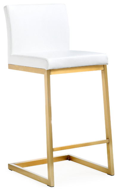 Parma White Gold Steel Counter Stool (set Of 2).