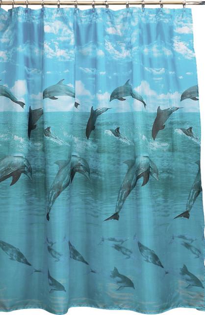 Dolphin Fabric Shower Curtain Beach Style Curtains