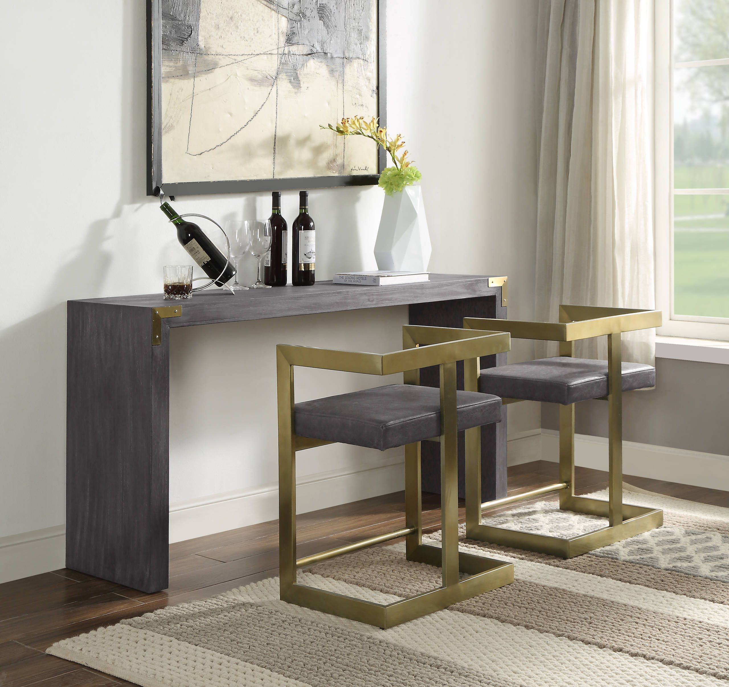 Console Table With Stool Ideas Photos, Sofa Table Desk With Stools