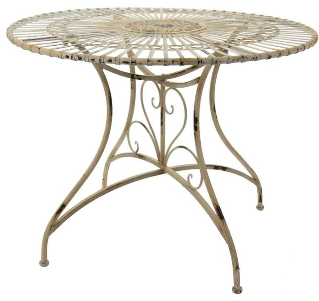 Rustic Round Garden Table In Distressed White.