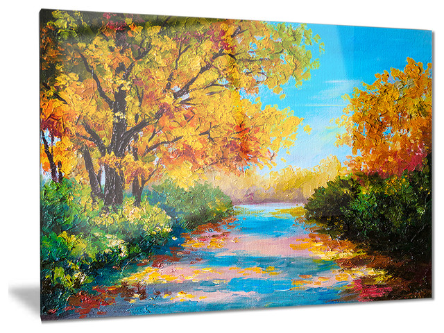Autumn Forest With Colorful River\