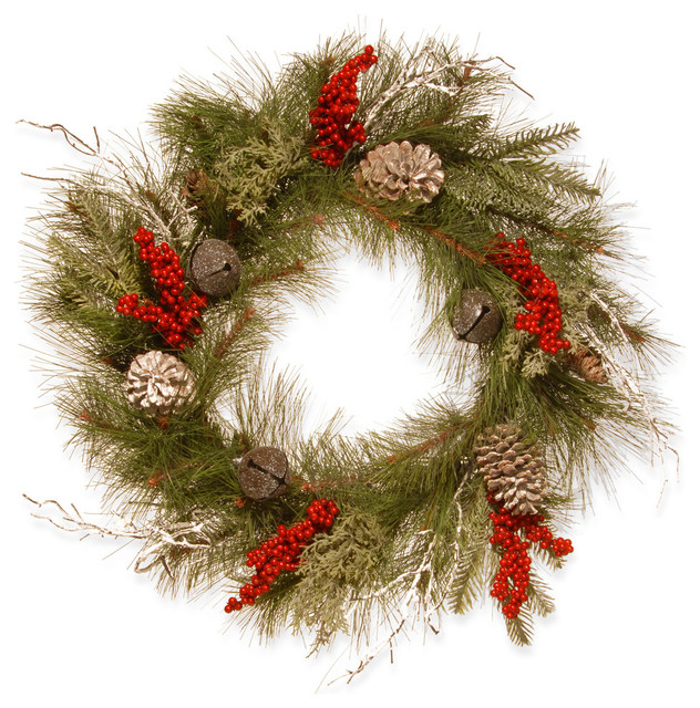 24 Christmas Wreath With Bells And Berries.