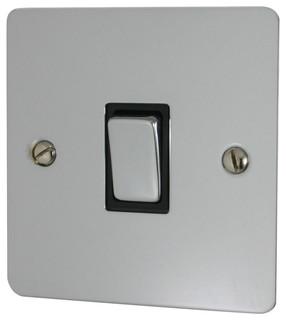 Flat Polished Chrome Intermediate Switch Black