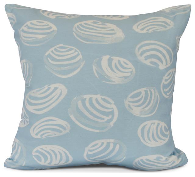Clams Animal Print Outdoor Pillow Light Blue Beach