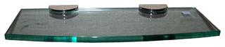"Tempered Glass Shelf Rectangle Radius 4""x12"", Stainless Steel Bracket"