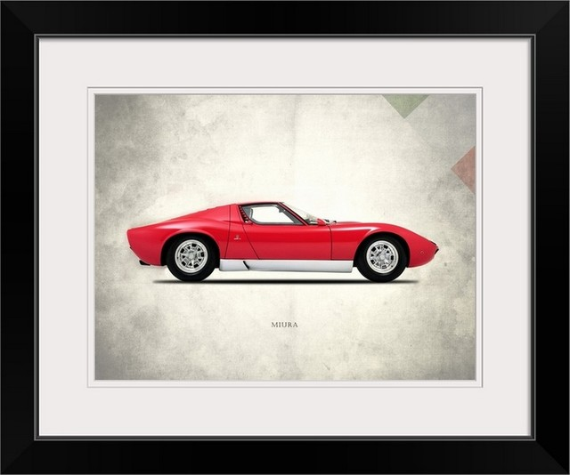 Lamborghini Miura P400 1967 Black Framed Art Print Contemporary
