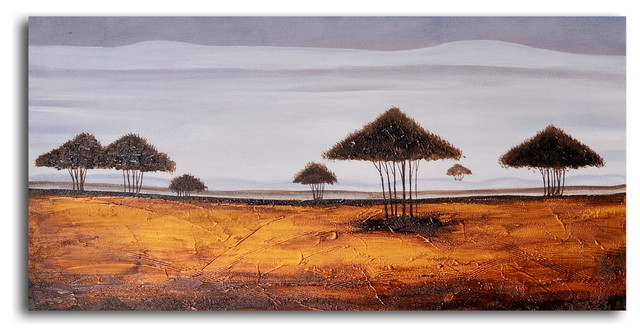"""Hand Painted """"Gold with tufted trees"""" Oil Painting"""