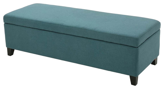 Upholstered Storage Ottoman In Dark Teal   Transitional   Accent And Storage  Benches   By ShopLadder