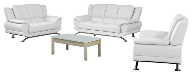 Milano Contemporary Leather Sofa Set, White, White, Modern Contemporary