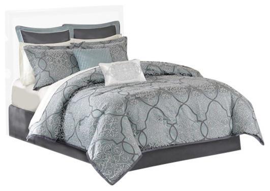 Jacquard 12 Piece Comforter Set Mediterranean Comforters And