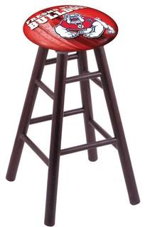 "Fresno State Bulldogs Dark Cherry Oak Swivel Bar Stool, 18"" Vanity"