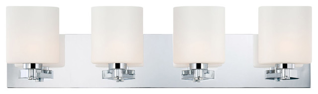 Embro 4 Light Vanity, Chrome And Oval White Opal Glass