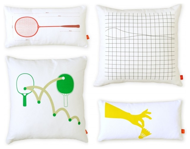 Gus Modern Chalet Pillows : Gus Modern Racquet Sports Graphic Pillows S/4 - Modern - Scatter Cushions - Los Angeles - by ...