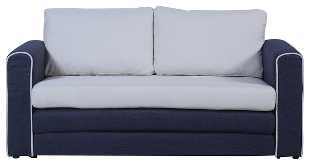 Superbe Modern Classic 2 Tone Sofa Sleeper Modular Convertible 2 Seater, Dark Blue/