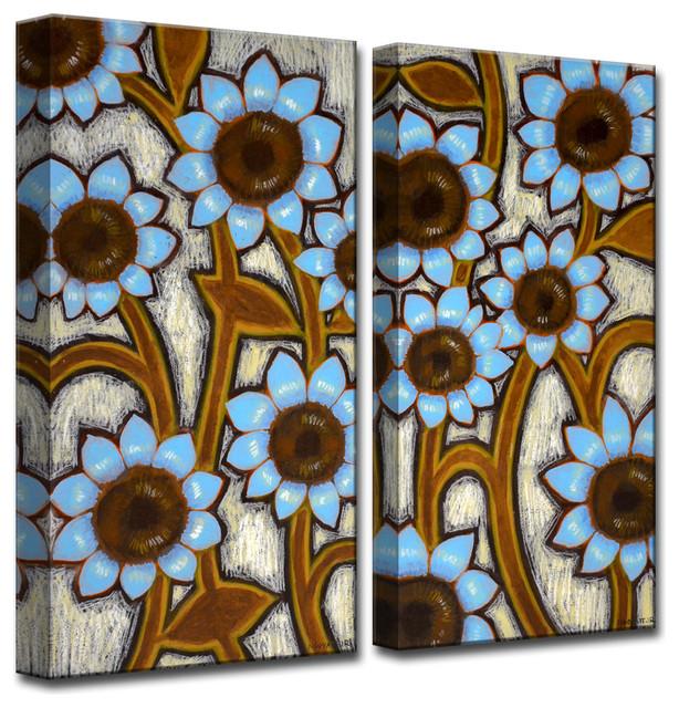"""Ready2HangArt 'Blue Sunflowers' by Norman Wyatt Jr. 2 Piece Set, 24""""x24"""""""